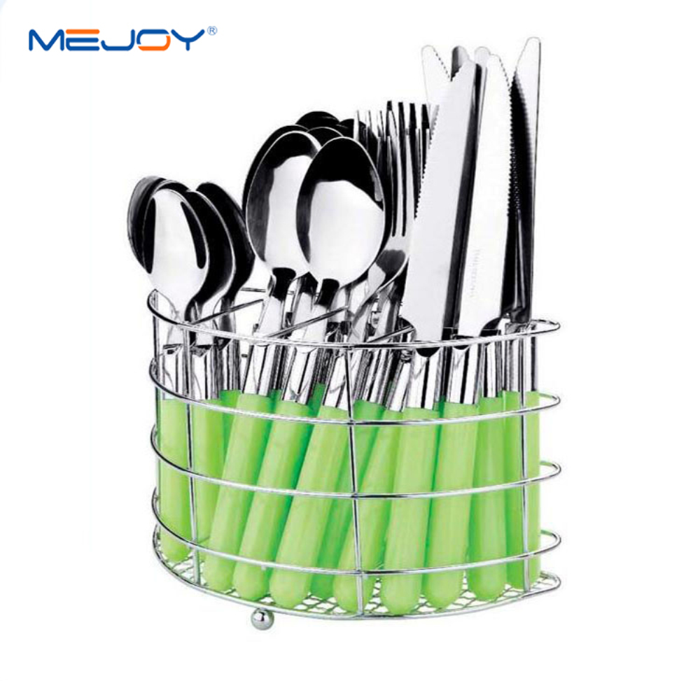 Wholesale promotion coloured handle flatware cutlery set with stand