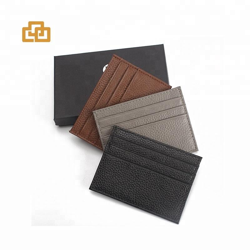 Porte-cartes de crédit minimaliste en cuir véritable pour hommes
