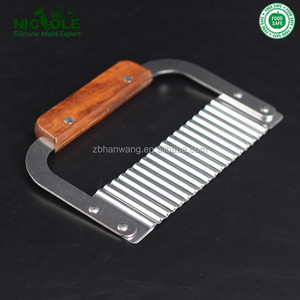 Sale Nicole Hardwood Handle Stainless Steel Crinkle Cutter Perfect For Cutting Soaps And Vegetable Household