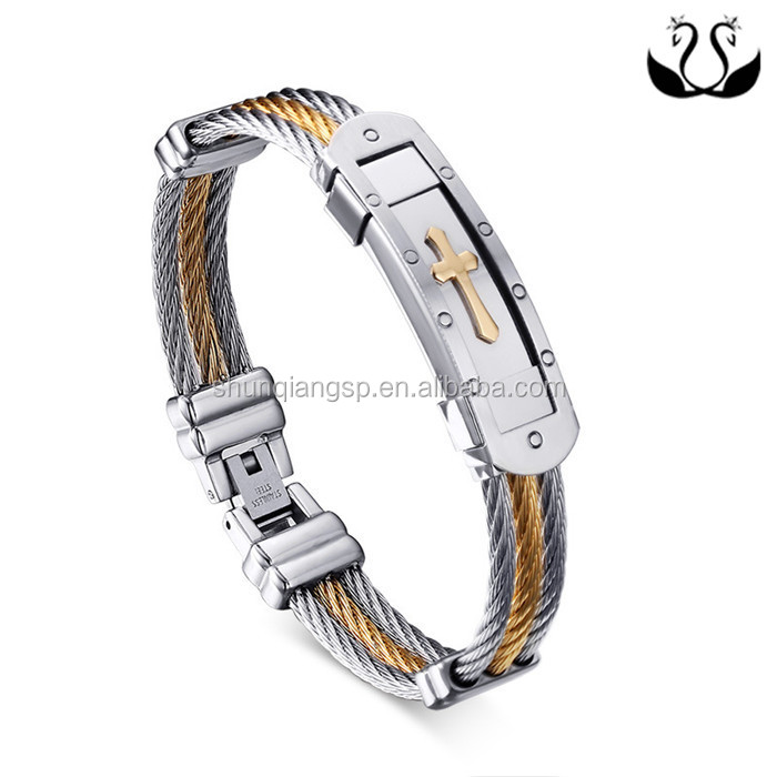Fashion Mens Stainless Steel Cross Prayer Wire Bracelet Bangle