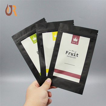 Eco friendly new coming supplies small black heat seal zip lock compostable plastic empey tea packaging bag