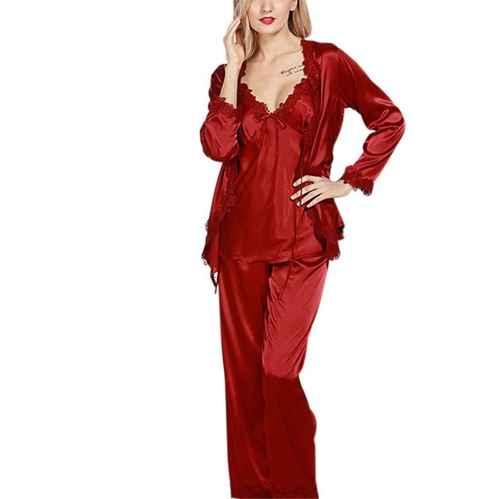 c421f527c9e Get Quotations · Luxurious Women Robe Pajama Sets Faux Silk Ladies 3 Pcs  Lace Silky Pajamas Pants Set Pajama