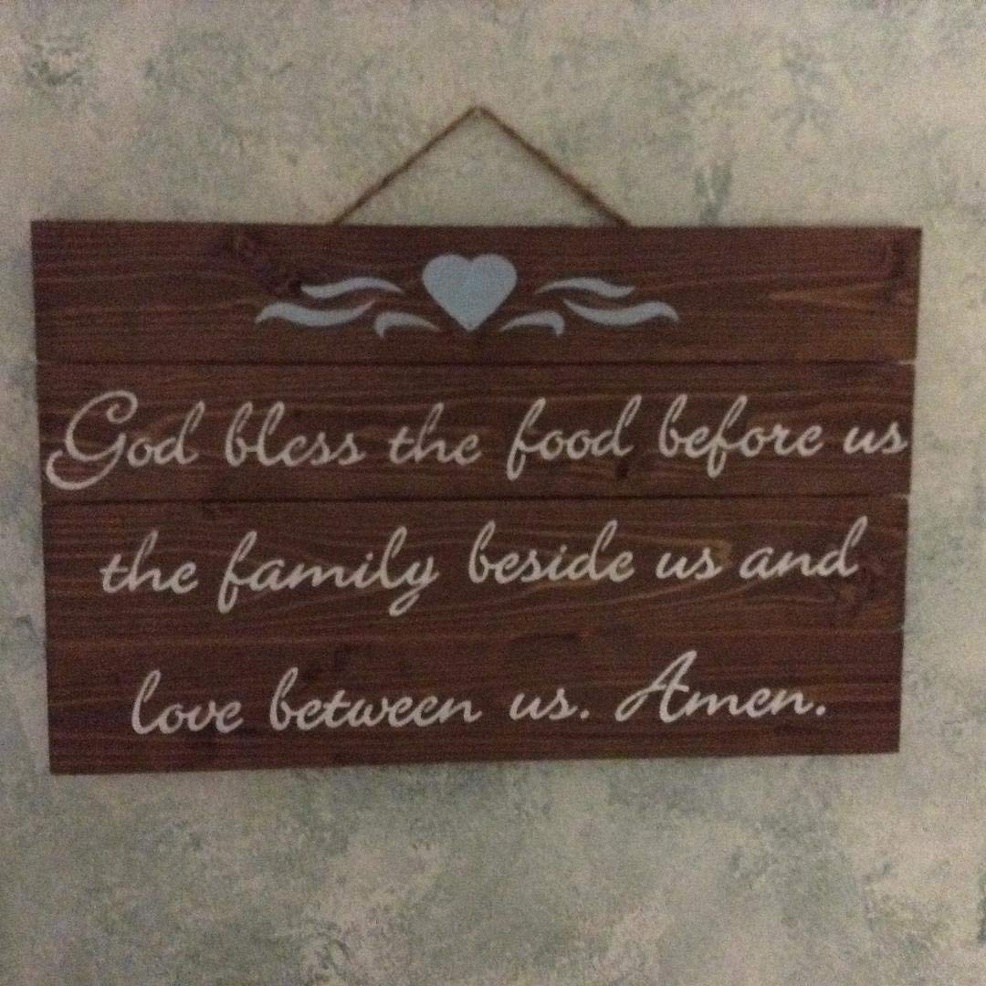 God Bless The Food Before Us The Family Beside Us And Love Between Us Amen Wood Pallet Art Hanging Wall Sign, Home Decor, Kitchen Sign