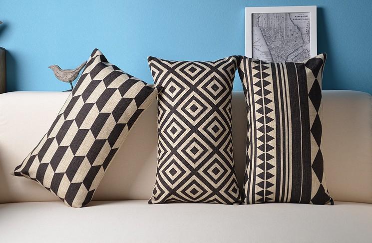noir et blanc linge housse de coussin d corer pour caf graphique g om trique r seau carr 45 cm. Black Bedroom Furniture Sets. Home Design Ideas