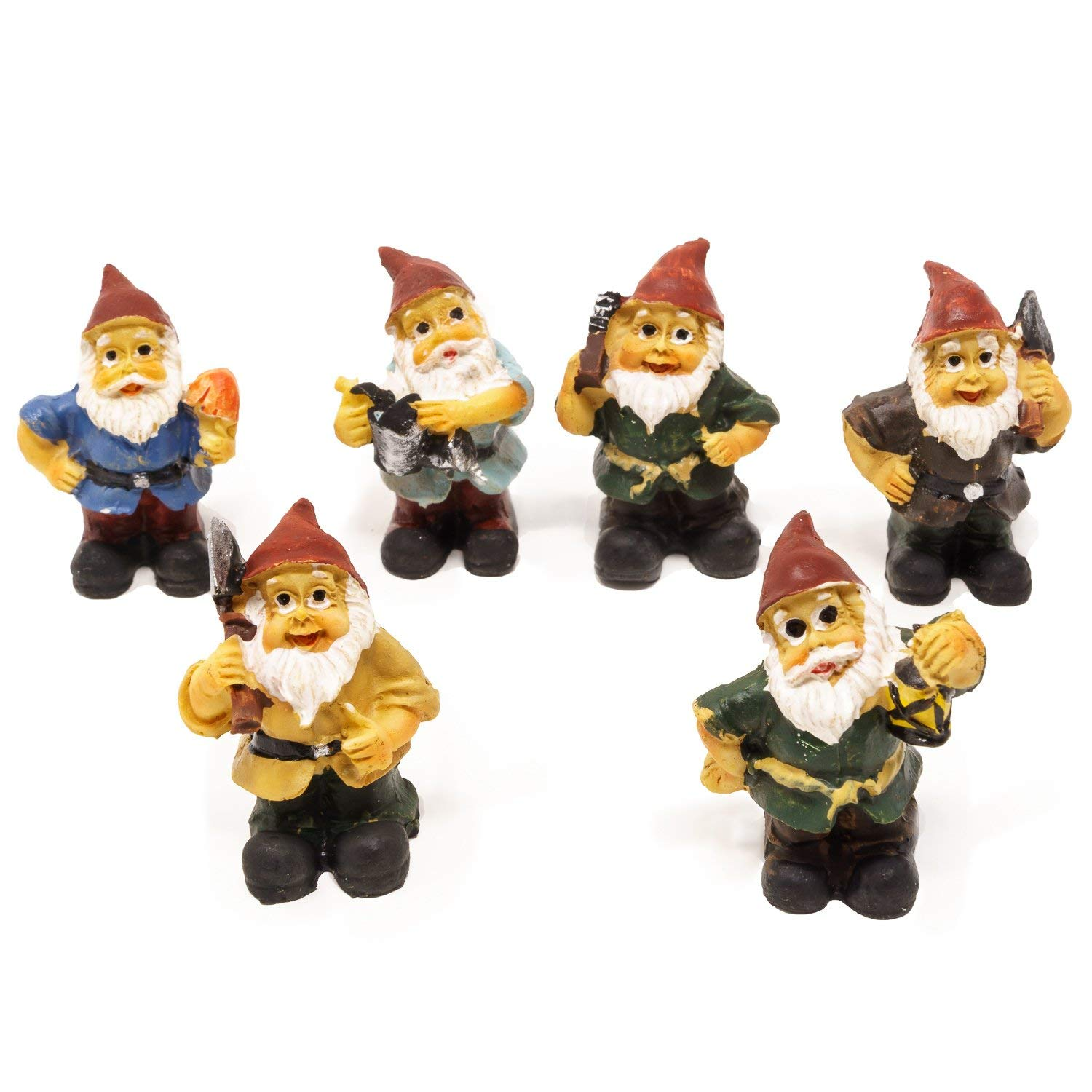 Get Quotations Harbor 55 Miniature Fairy Garden Gnomes Set Of 6 Only 1 5 Inches Tall