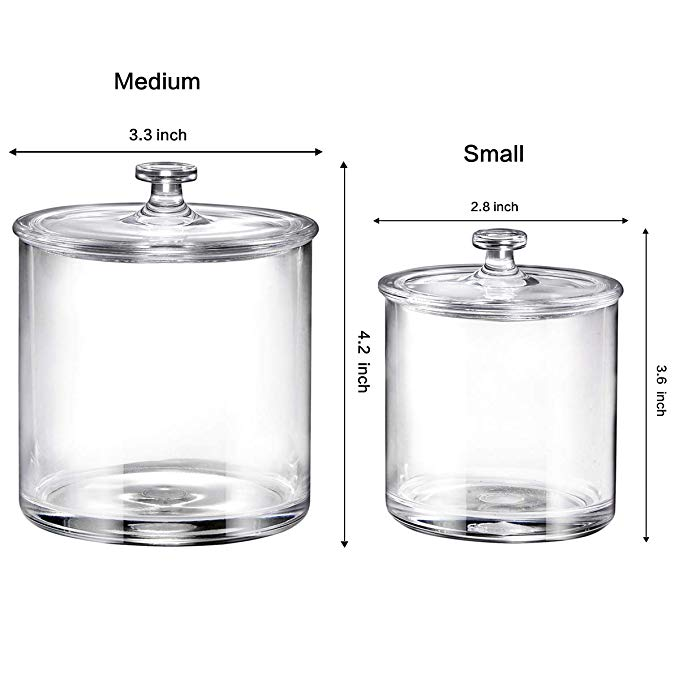 Premium Acrylic Apothecary Jars Set of 3 | Crystal Clear Plastic Storage Canisters with Lids | Bathroom, Kitchen, Laundry, Craft