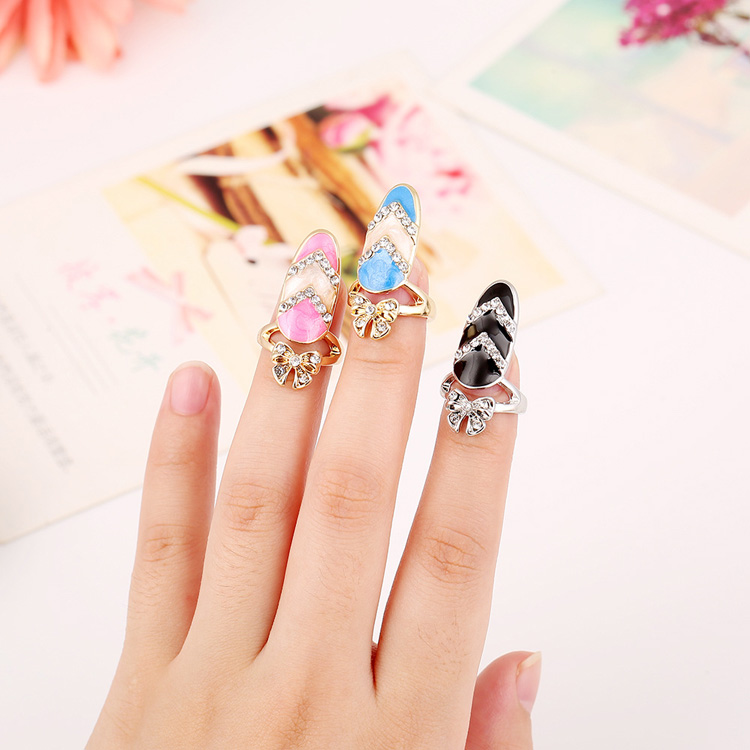 Creative Fashion Ring Ornaments Gold Silver Plated Ring Crystal Butterfly Color Painted Rhinestone Manicure False Nail Ring
