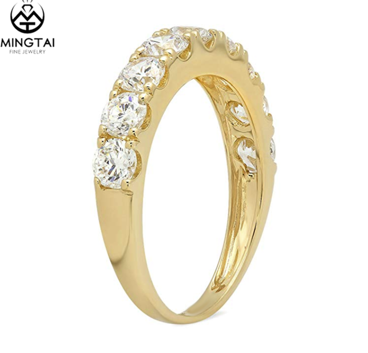 Runde Cut pave set Braut hochzeit diamant band ringe gold ring designs 14 karat