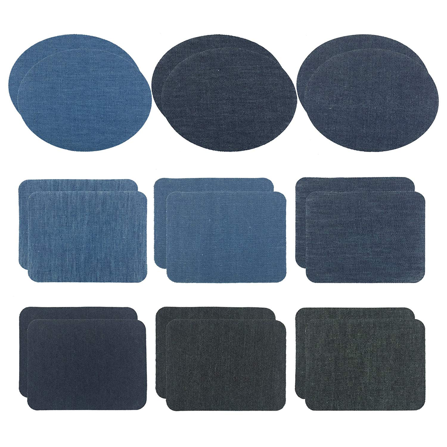 Wartoon 6 Colors 18 Pieces Iron On Patches Iron On Denim Cotton Patches Iron-On Repair Kit, 2 Size
