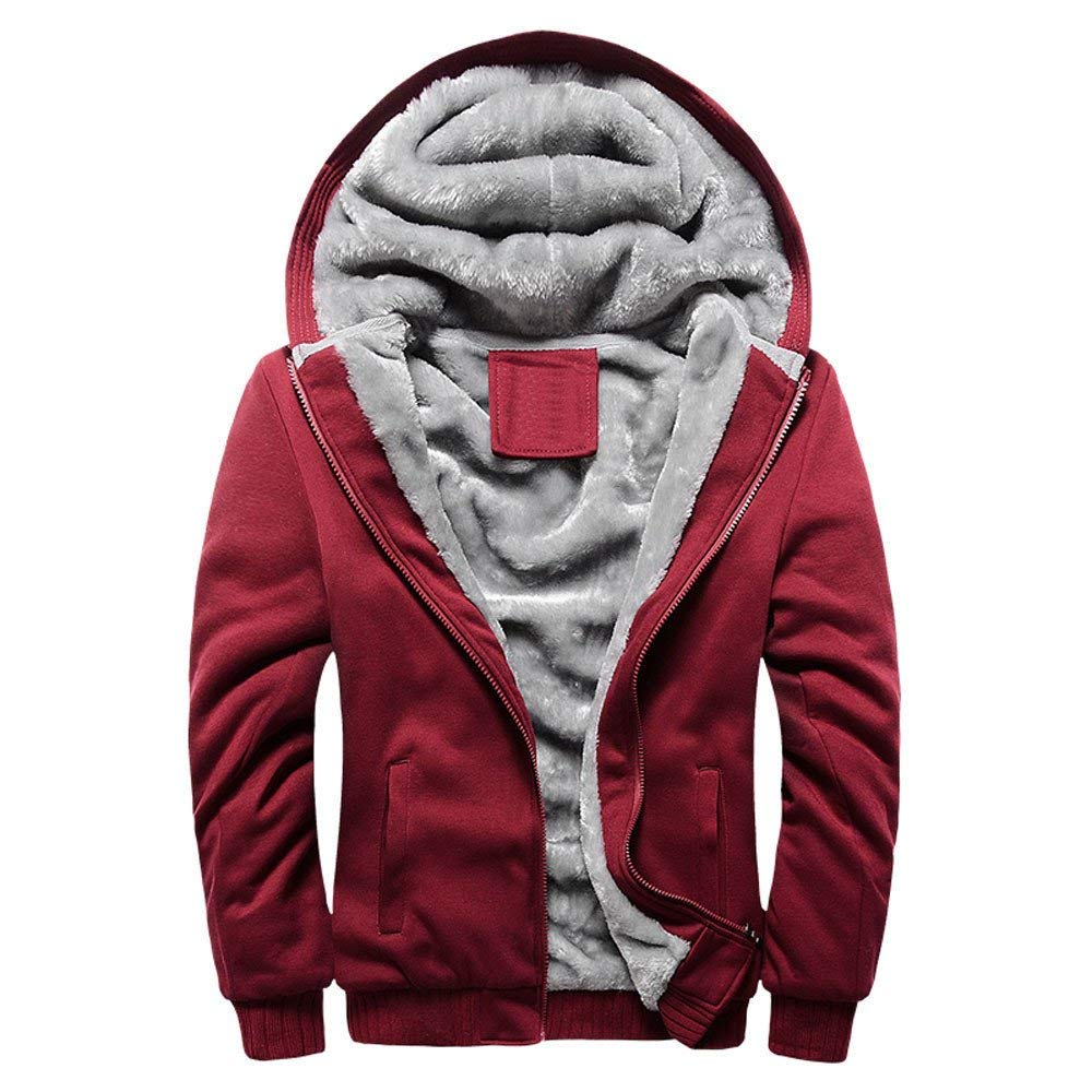 Mens Baseball Jacket,Thermal Fleece Zipper Bomber Jacket Casual Hooded Sweatshirt Coat Zulmaliu