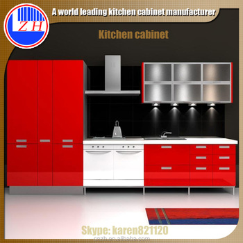 high gloss red kitchen cabinet with acrylic cabinet door buy