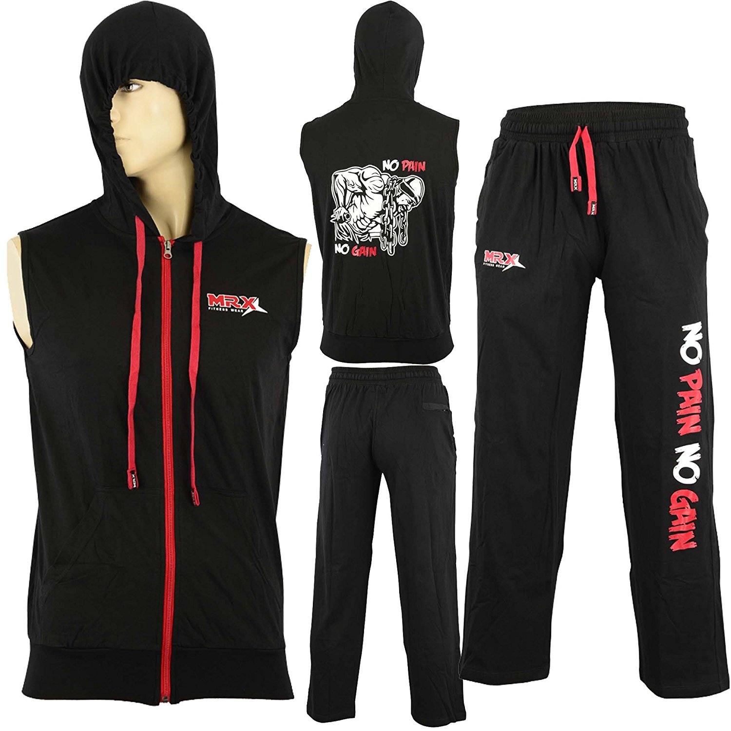 MRX BOXING & FITNESS MRX Mens Sleeveless Hoodie Zipper with Gym Sweat Pant Set Black & Red