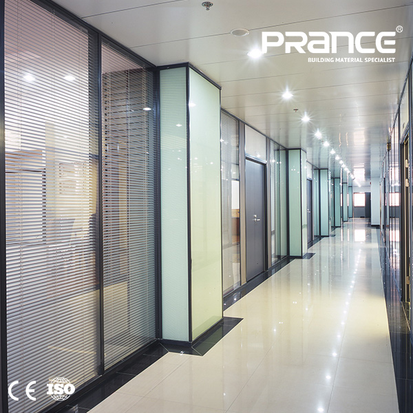 The office partition of transparent resistant glass curtain wall glass louver