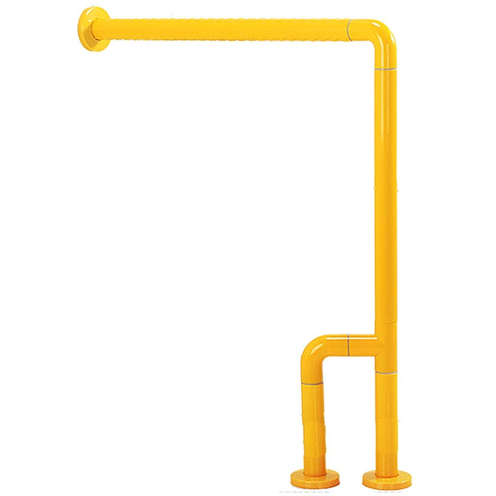 Stainless steel handrail bathroom handrail safety handrail anti-corrosion anti-slip luminous handrail for the elderly barrier-free high load-bearing toilet railing ( Color : Yellow , Size : 6070cm )