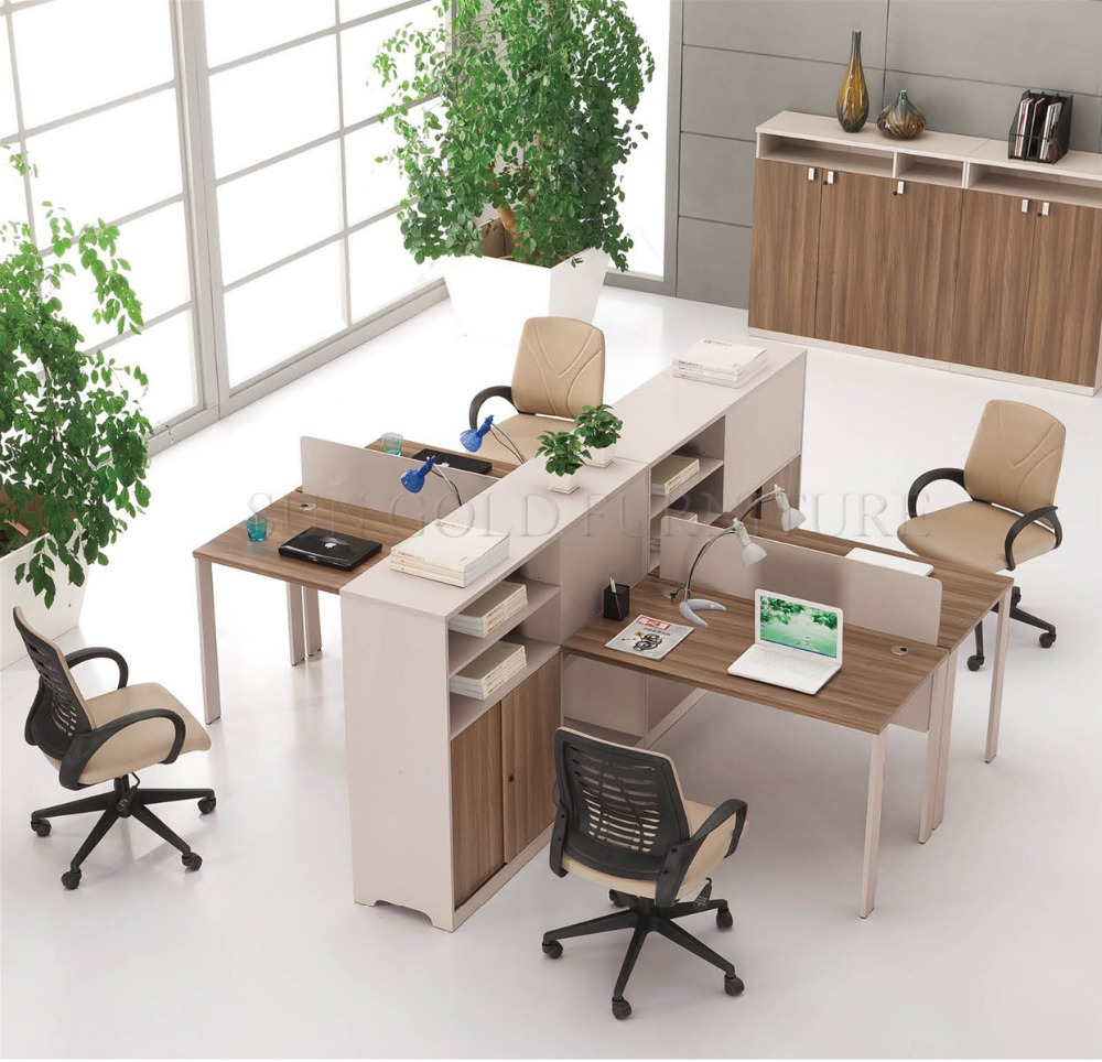 Wooden 4 Person Office Cubicle Workstation Desk For Small Sz Wsb329 Product On Alibaba