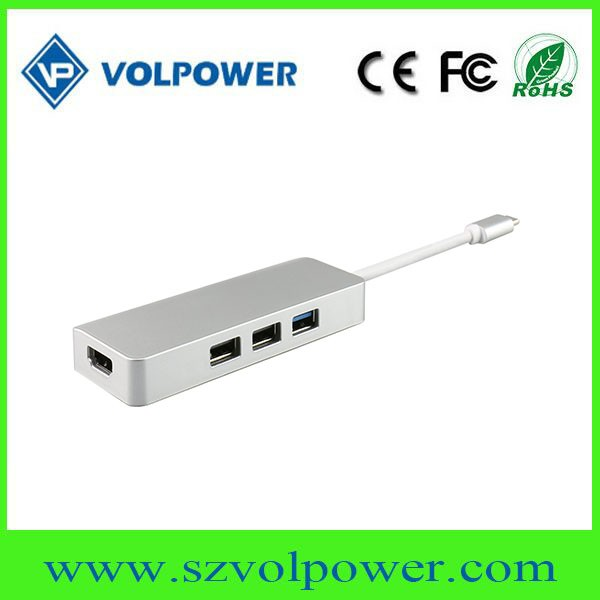 2017 Factory price Shenzhen volpower C800 Hub with PD charging function laptop mac book usb 3.0 4 ports hub