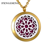 gold color round shape essential oil diffuser necklace stainless steel flower aroma perfume locket pendant with gold chain