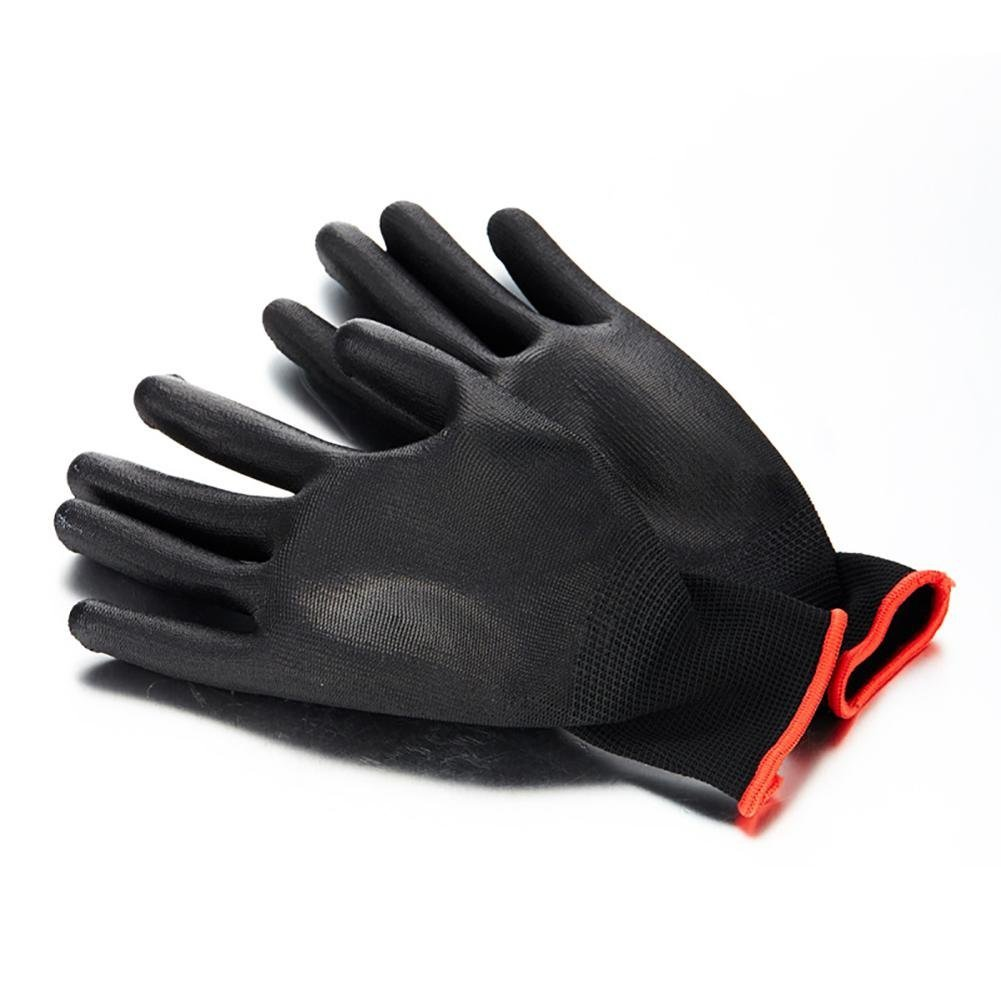 JZDCSCDNS Garden Gloves Cut Resistant Anti-scratch Non-slip Antifouling Anti-puncture Wear-resistant Planting Fertilization Metal Industry Elastic Cuffs Polyester PU Coating Black