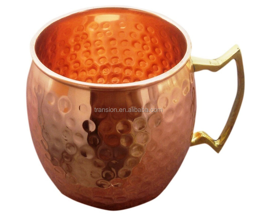 Hammered Moscow Mule 100 % Solid Pure Copper Mugs/Cups - Set of 4 (16-ounce/Set of 4, Smooth)