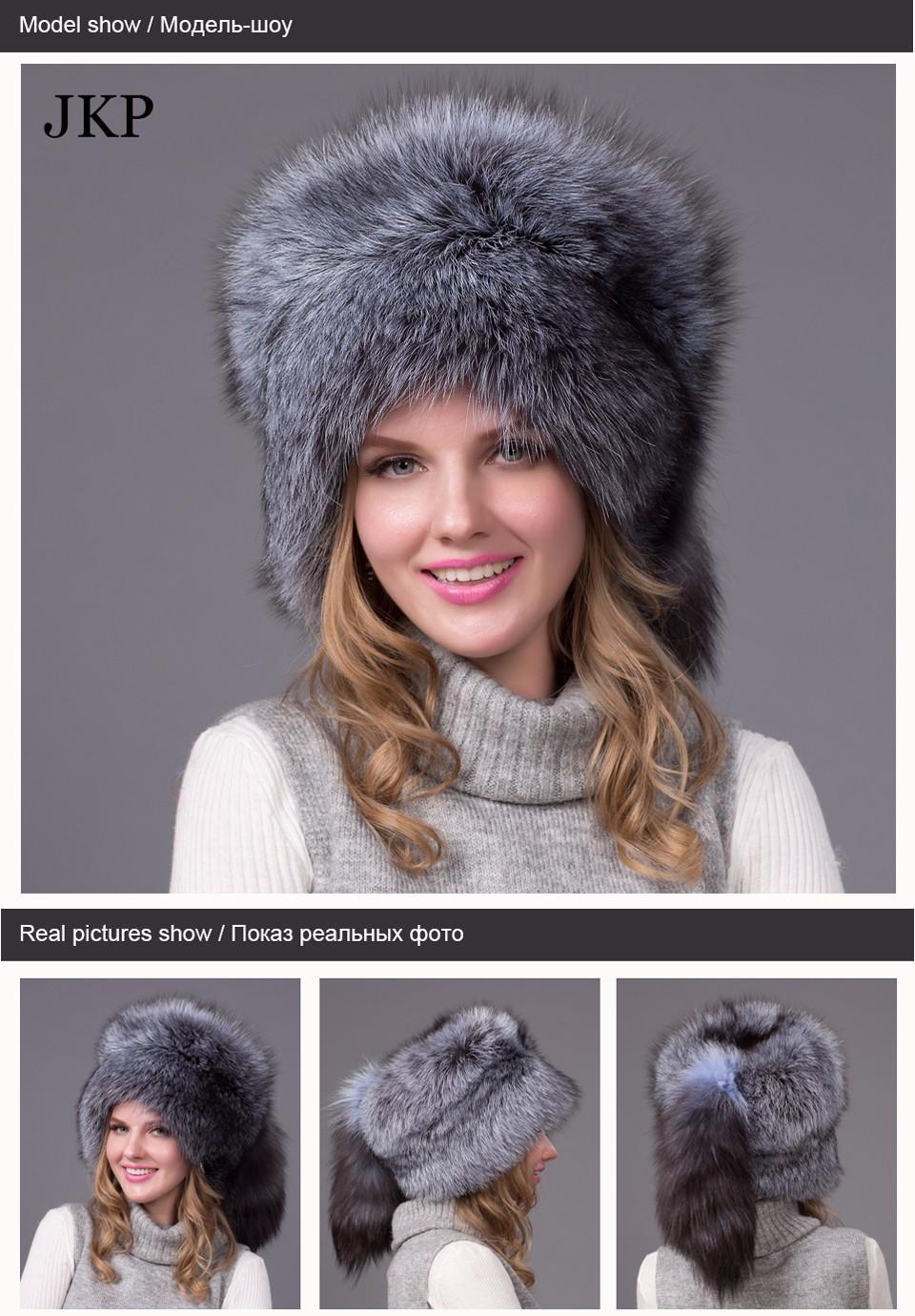 0c4b56cd967 Real Fox Winter Hats For Women Winter Luxury Fur Genuine Fur Trapper fox  fur tail Hat Caps Russian Style Hat Bombers. 1-1 1-2