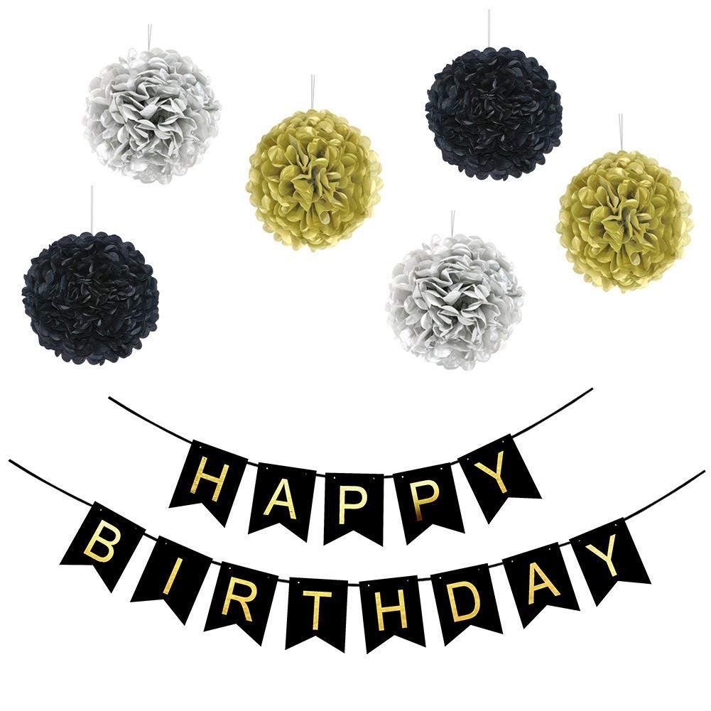 LOCCA Black And Gold Happy Birthday Bunting Banner Sign Paper Pom Poms For 16