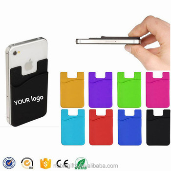 custom adhesive 3m sticker rubber cell phone silicone credit card holdersilicone wallet card holder - Phone Card Holder Custom