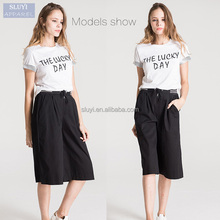 Hot sale style ladies summer home sports style lacing Casual waisted loose Wide Leg cropped trousers