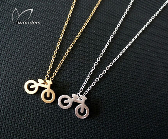 Details Gold Silver Plated Tiny Bicycle Pendant Stainless Steel Chain Necklace Women Men Gifts Jewelry