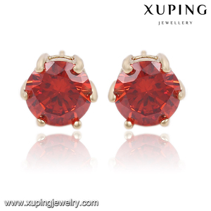92024-cheap wholesale fashion jewelry 14k gold red stone earrings