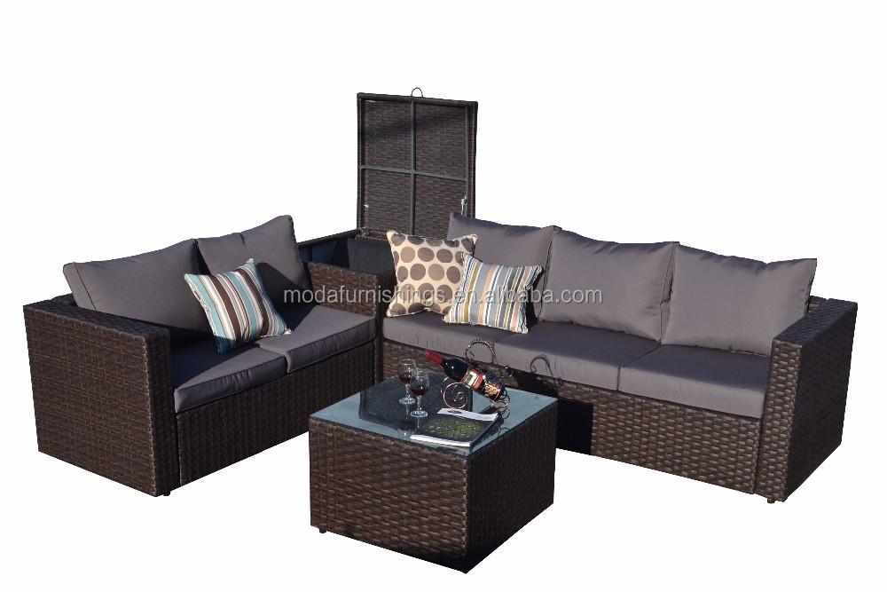 Modern Design Sectional Sofas With Cushion Box Patio Outdoor Garden Furniture Rattan Modular Sofa