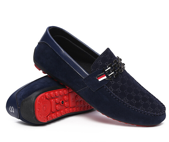 4205a5e6f92 Get Quotations · Fashion Men Suede Leather Moccasin Loafers Red Bottom Men  Shoes Slip On Men Driving Shoes Mens