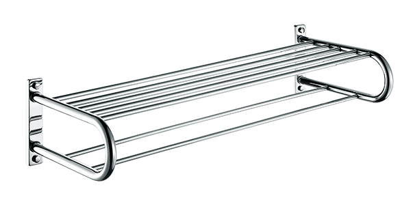 Bath towel holder towel rack brass bathroom double towel shelf