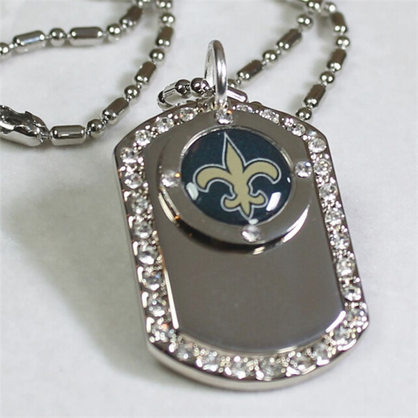 Yiwu Aceon NEW ORLEANS SAINTS BLING NFL NECKLACE PENDANT CZ DOG TAG NFL