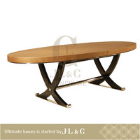Luxury Dinning Room Elliptical Table Leather Covered Dining Table-JT16-11 Dining Table- JL&C Luxury Home Furniture
