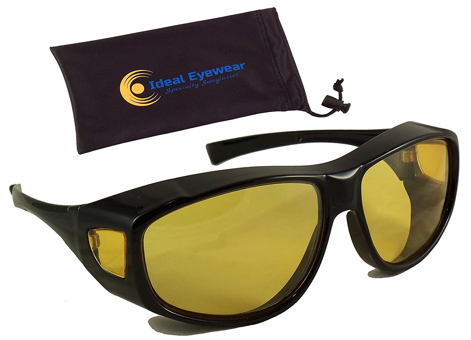 c362a6b9340 Night Driving Fit Over Glasses by Ideal Eyewear - Wear Over Prescription  Glasses - Yellow Lens for Better Night Vision