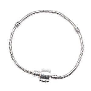 Silver Plated Threaded Snake Chain Bracelet With Magnetic Clasp Fits Most Major Charm Beads.