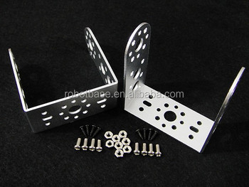Aluminum Long U type Servo Bracket one Pair Silver