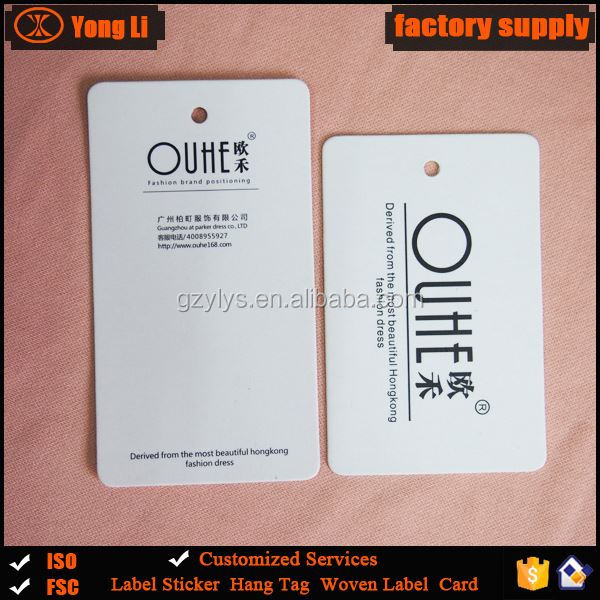 China manufacturer hot sale custom paper garment hang tags for clothing
