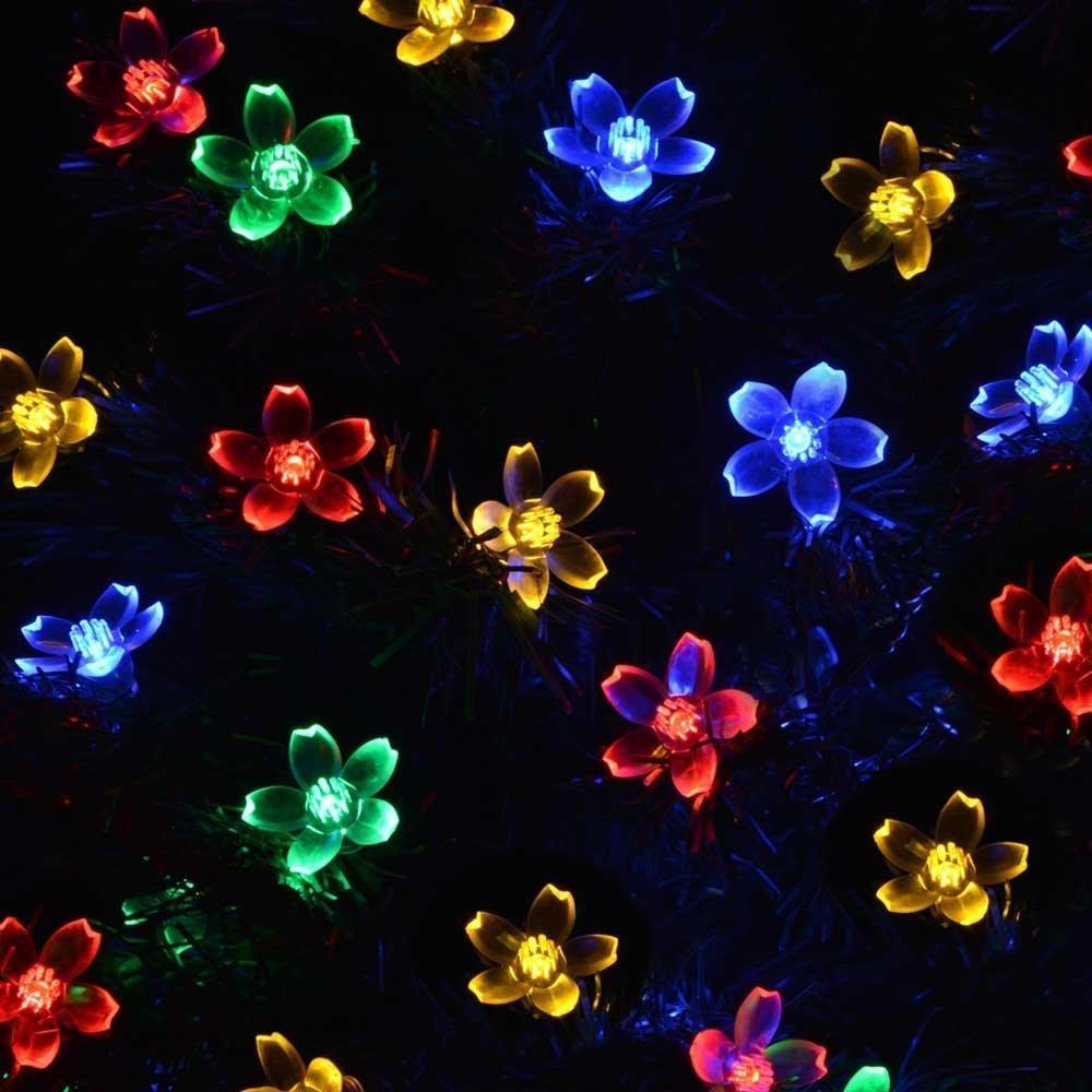 Flower Solar Powered Christmas Lights 50 Led 7m Decorative