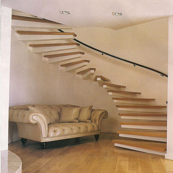 Beautiful Affordable Indoor Oak Wood Floating Staircase 40mm Thick Treads