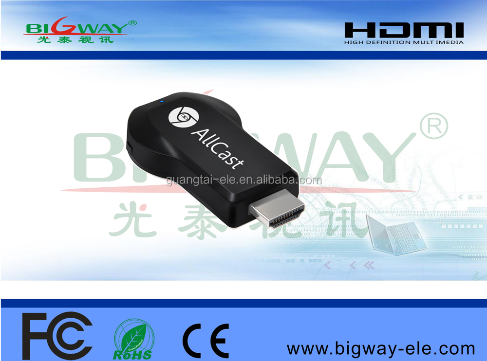 Bigway high quality hot sale wifi display dongle ezcast anycast miracast M2 android tv stick