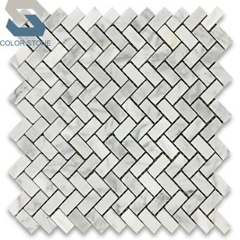 White Carrara Marble Herringbone Backsplash Mosaic Tiles For Kitchen - Buy  Mosaic Tiles For Kitchen,Mosaic Kitchen Backsplash Tile,Kitchen Mosaic ...