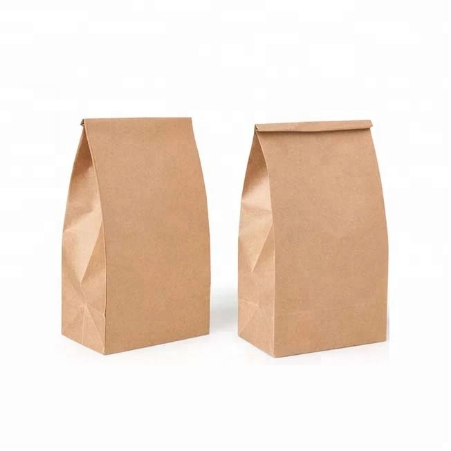 Custom Size Cheap Food Grade Wax Roll Kraft Paper Bag Without Handle Recycle paper