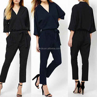 Black Romper Women Jumpsuits Spring Autumn Bodysuit Half Sleeve V Neck Casual Elegant Long Office Rompers Ladies Jumpsuits
