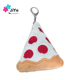 Customised Plush Food Key Chain, 3D Soft Rubber Pizza Keychain