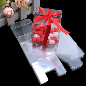 PVC Square Gift Boxes Favor Candy Packing Souvenir Box Transparent Event Chocolate Dessert Bags 5x5x5cm : clear gift bags - medton.org
