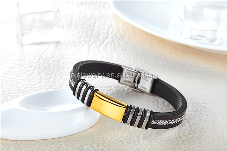 In hot sale 316L Stainless steel jewelry with silicone bracelet,bangle