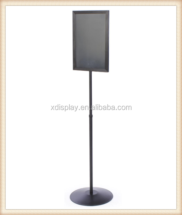 Stand for Floor double sided poster display, adjustable height poster display rack , Top Insert metal poster display stand