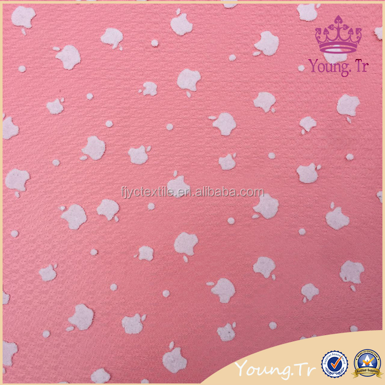 Novelty apple flocking high density outdoor mesh lace fabric