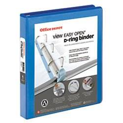 Office Depot EasyOpen(R) ClearVue(TM) Locking Slant-D Ring Binder, 1in. Rings, Letter Size, 57% Recycled, Blue, OD10302